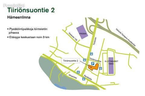 Toimitilat, Hämeenlinna | Tiiriönsuontie 2 | lähestymiskartta