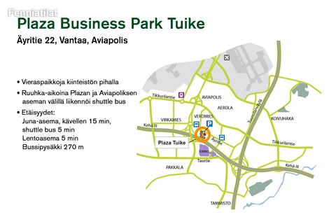 Toimitilat, Vantaa | Plaza Business Park Tuike | Lähestymiskartta