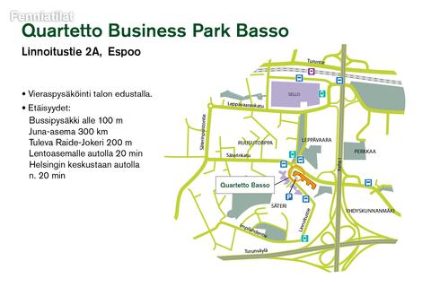 Toimitilat, Espoo | Linnoitustie 2a, Quartetto Business Park Basso | Lähestymiskartta