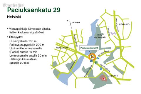Toimitilat, Helsinki | Paciuksenkatu 29 | Lähestymiskartta