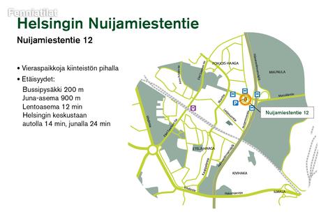 Toimitilat, Helsinki | Nuijamiestentie 12 | Lähestymiskartta