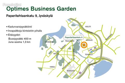 Toimitilat, Jyväskylä   Optimes Business Garden, Paperitehtaankatu 9   Lähestymiskartta