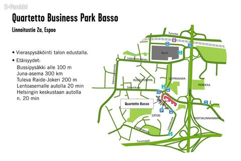 Toimitilat Espoo | Linnoitustie 2a | Quartetto Business Park Basso | kartta