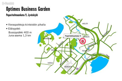 Toimitilat Jyväskylä | Paperitehtaankatu 9 | Optimes Business Garden | kartta